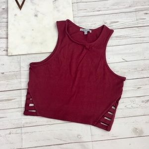 charlotte russe womens s maroon crop top cut out s
